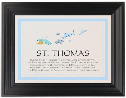 Framed Photograph of Map of the Virgin Islands 1 Memorabilia Cards