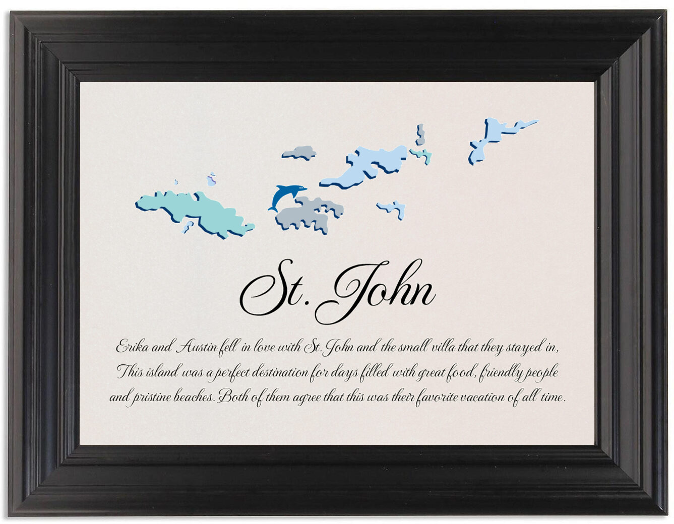 Framed Photograph of Map of the Virgin Islands 2 Memorabilia Cards