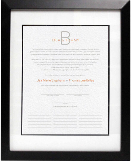 Photograph of Brownstone Monogram 15 Wedding Certificates