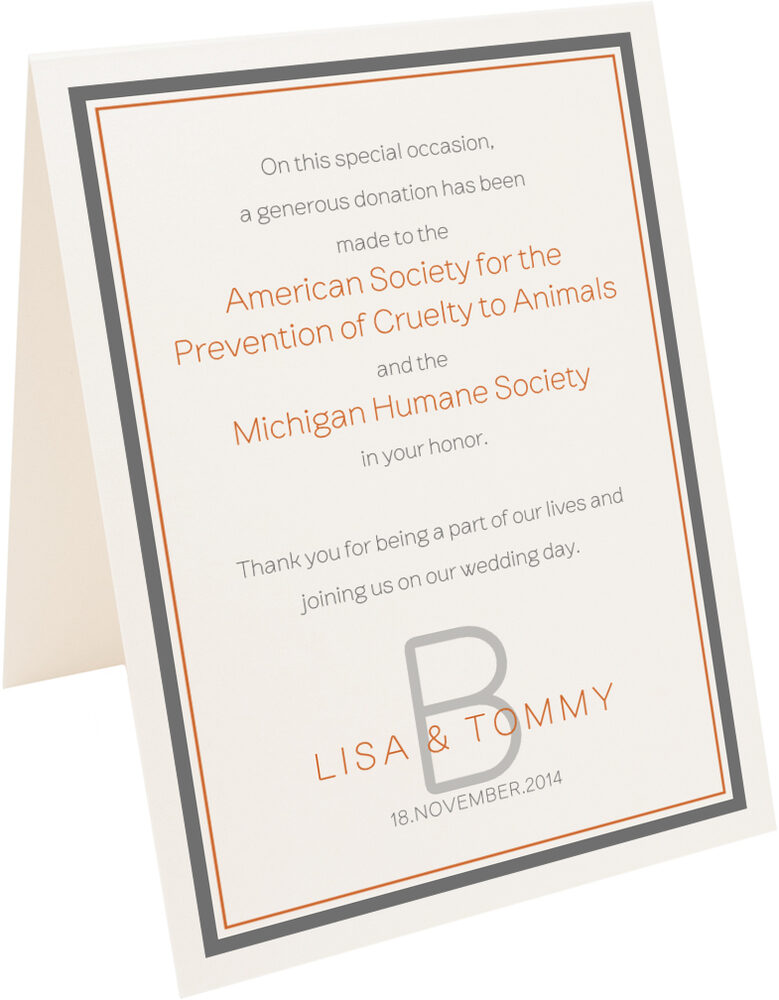 Photograph of Tented Brownstone Monogram 15 Donation Cards