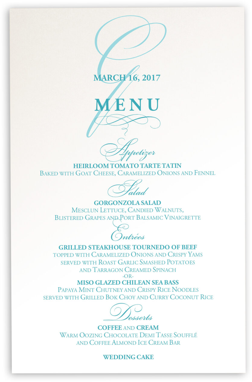 Photograph of Bickham Watermark 2 Wedding Menus