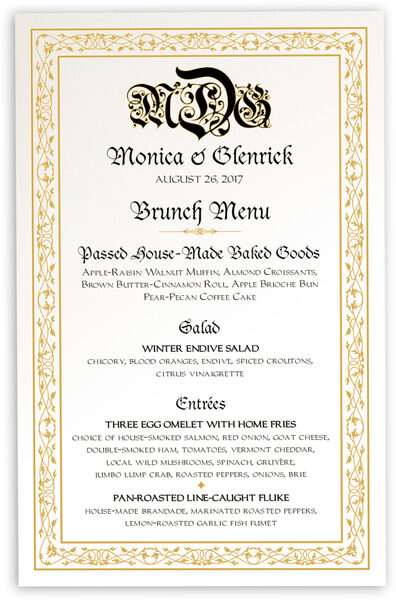 Photograph of Blackletter Gothic Wedding Menus