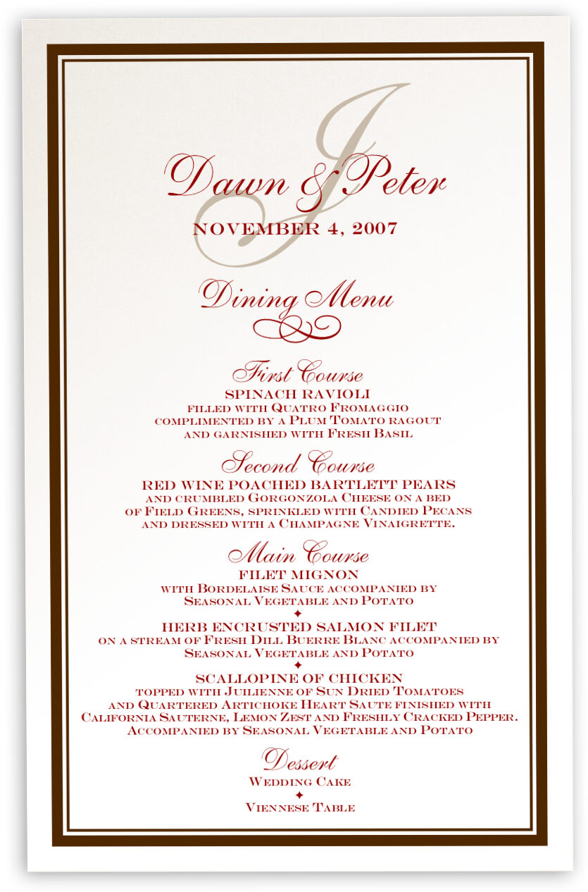 Photograph of Bracha Wedding Menus