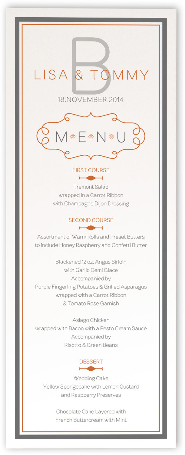Photograph of Brownstone Monogram 15 Wedding Menus