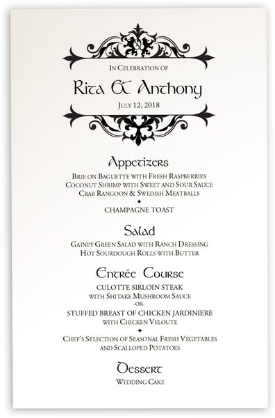 Photograph of Royal Lion Wedding Menus