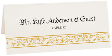 Photograph of Tented Blackletter Gothic Place Cards