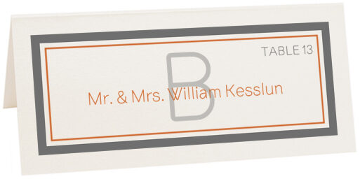 Photograph of Tented Brownstone Monogram Place Cards