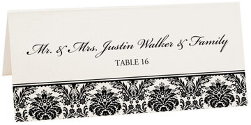 Photograph of Tented Damask Pattern Place Cards