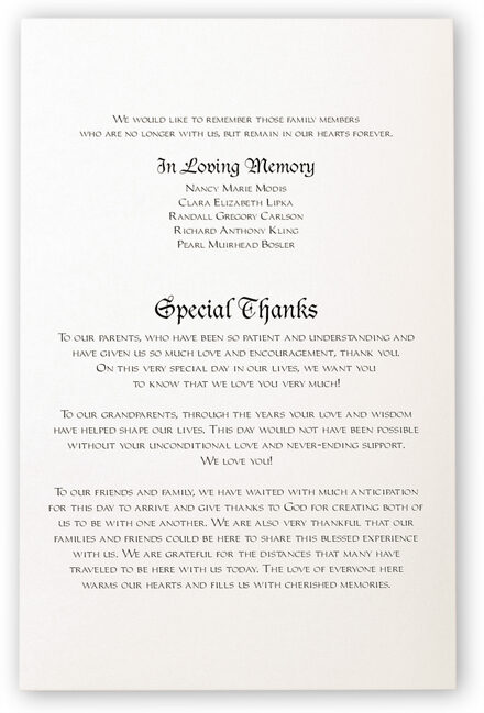 Photograph of Blackletter Gothic Wedding Programs