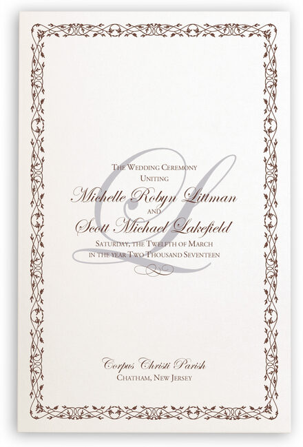 Photograph of Edwardian Watermark Wedding Programs