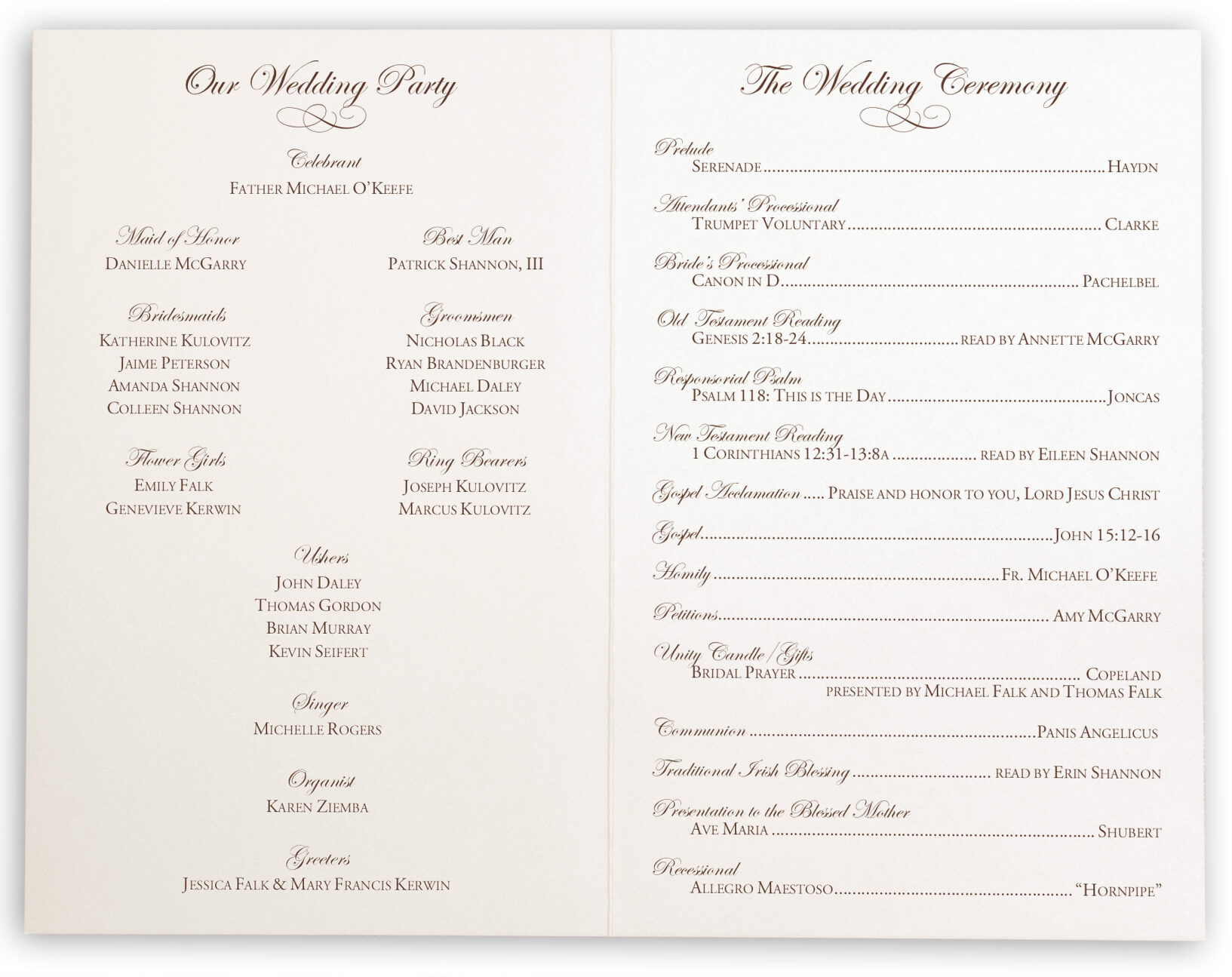 edwardian watermark and brown celtic leaf border wedding program