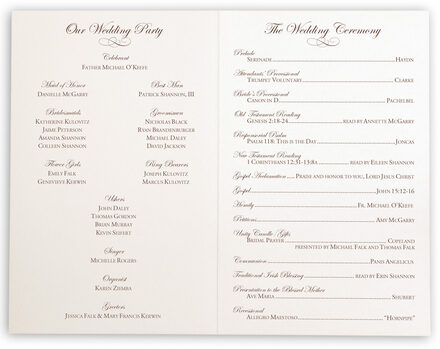 Photograph of Edwardian Watermark Wedding Programs