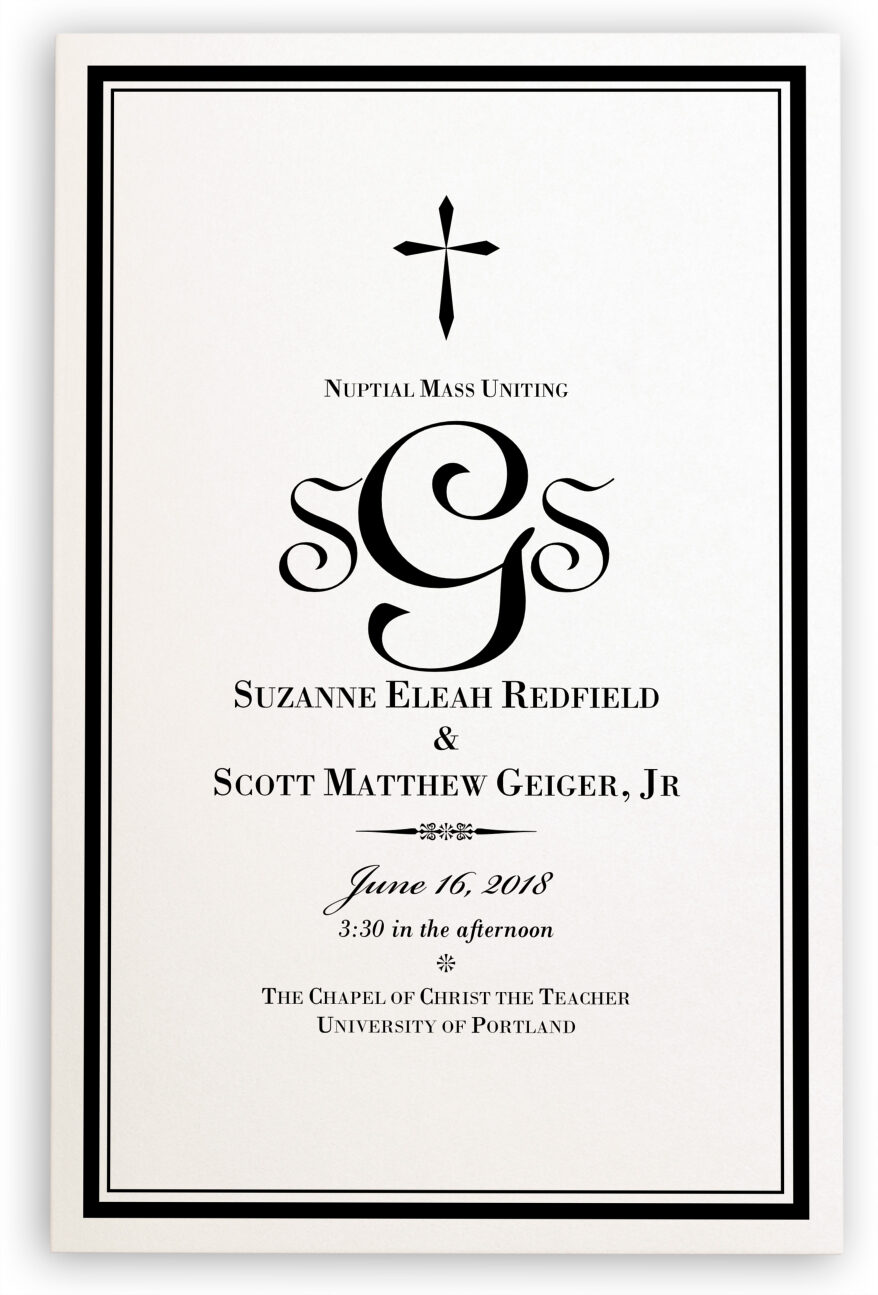 Photograph of Typo Upright Monogram Full Catholic Mass (12 Pages) Wedding Programs