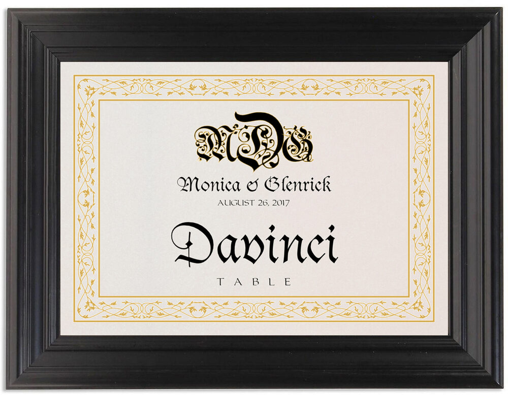 Framed Photograph of Blackletter Gothic Table Names