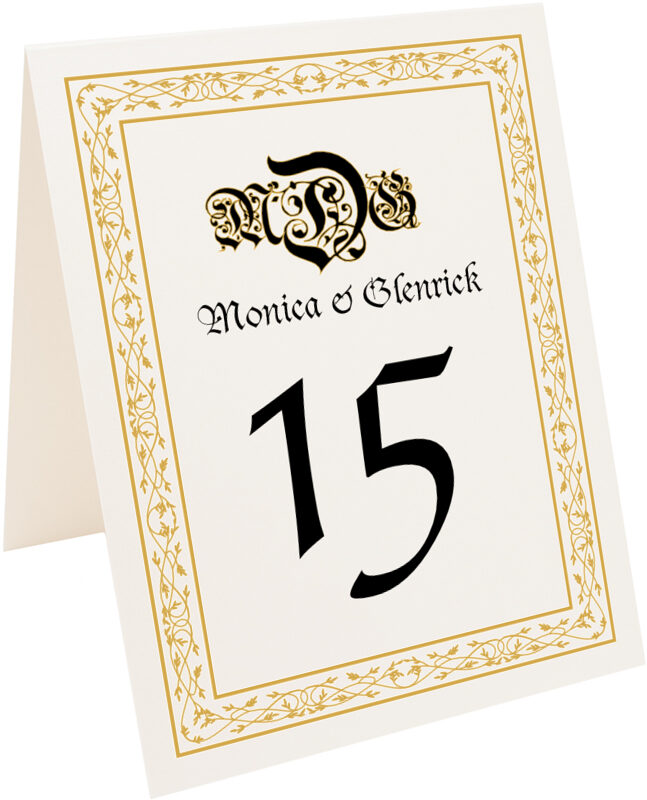 Photograph of Tented Blackletter Gothic Table Numbers