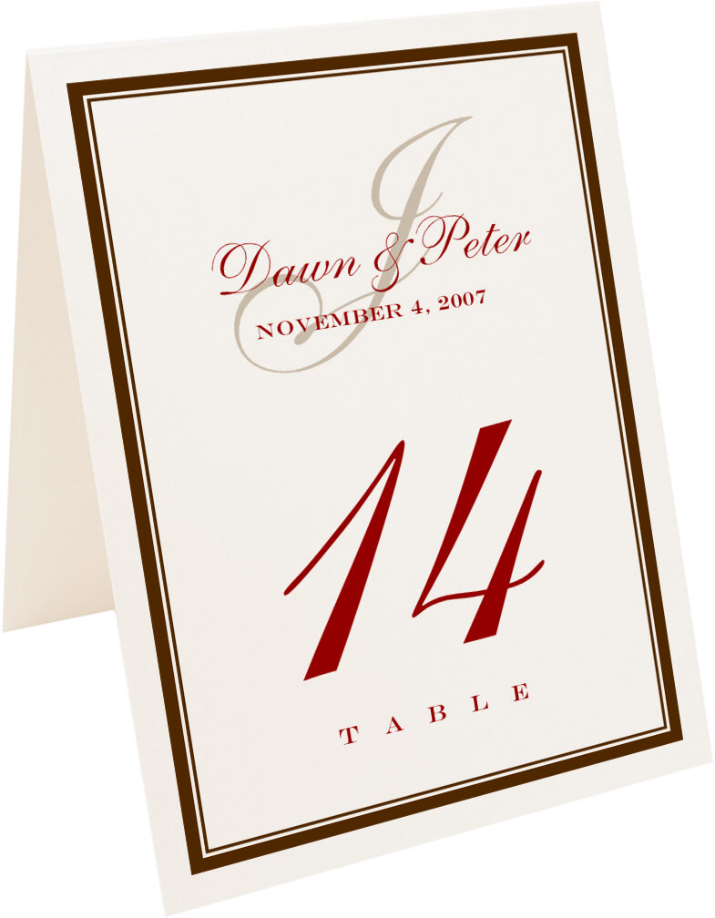 Photograph of Tented Bracha Table Numbers