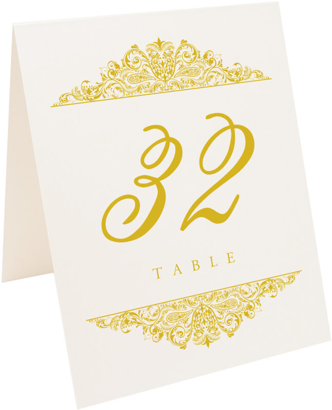 Photograph of Tented Paisley Table Numbers