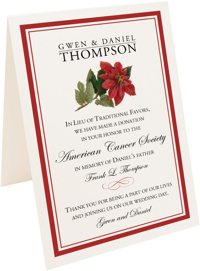 Poinsettia winter christmas and holiday wedding donation cards and photograph of tented poinsettia donation cards m4hsunfo