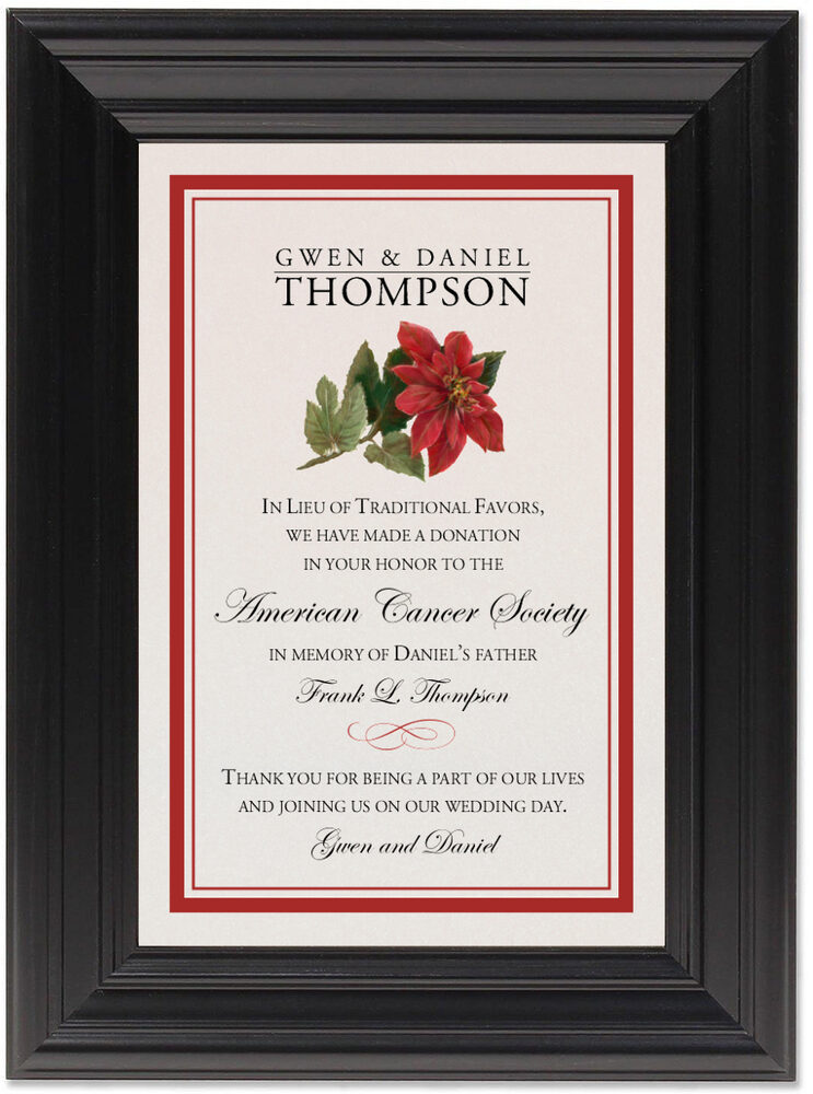 Framed Photograph of Poinsettia Donation Cards
