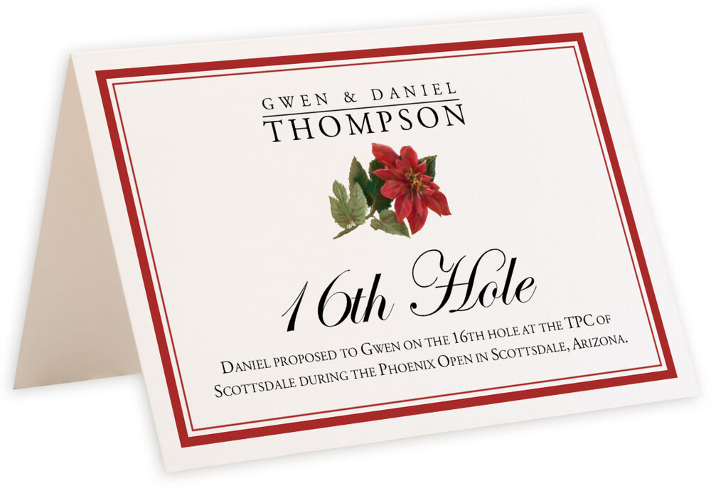 Photograph of Tented Poinsettia Memorabilia Cards