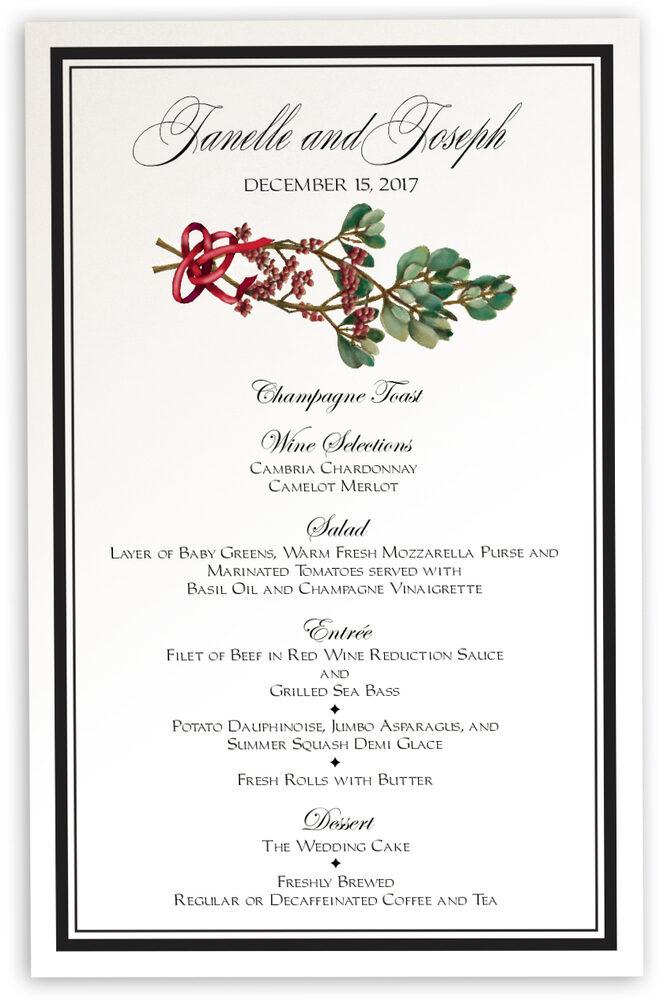 Photograph of Mistletoe Wedding Menus