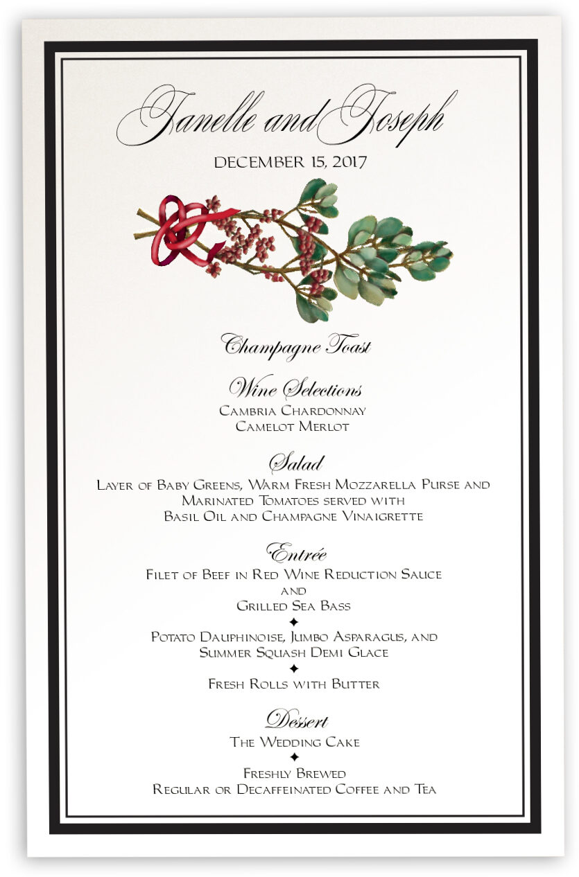 Photograph of Mistletoe Wedding Menus