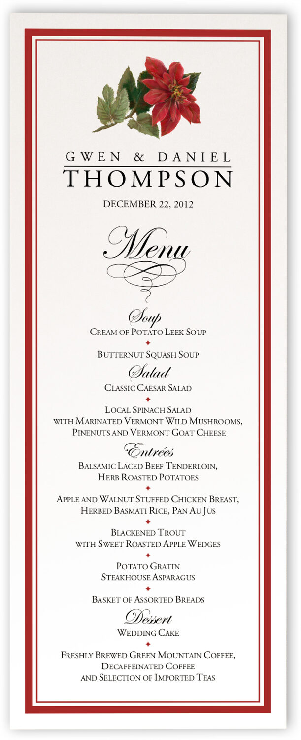Photograph of Poinsettia Wedding Menus