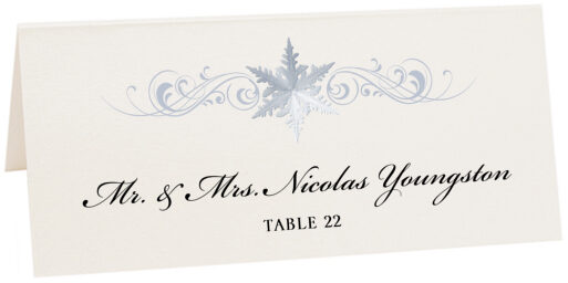 Photograph of Tented Snowflake Flourish Place Cards