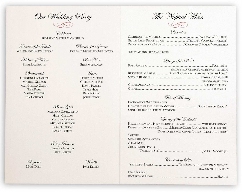 Photograph of Poinsettia Wedding Programs