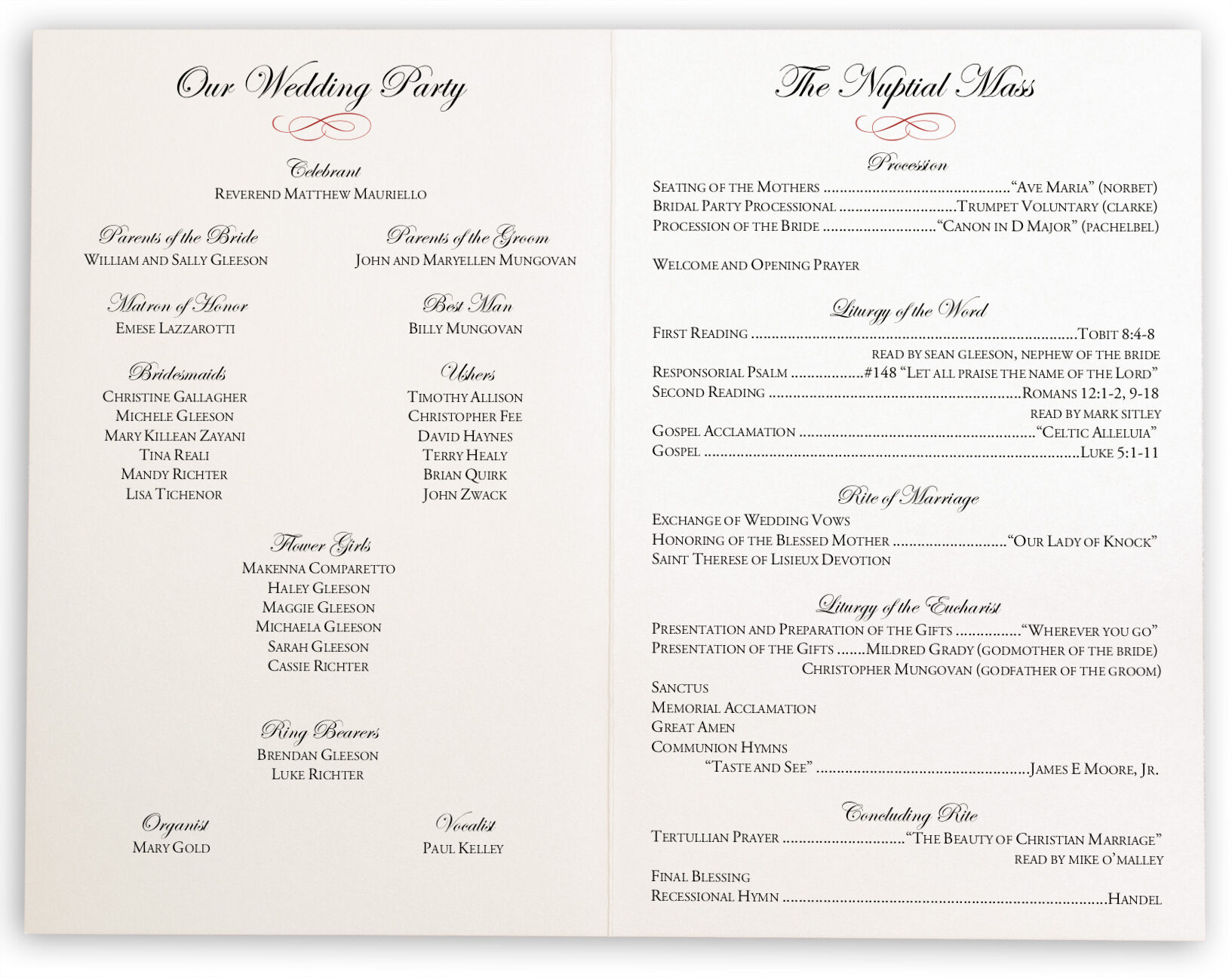 Photograph of Poinsettia Wedding Programs