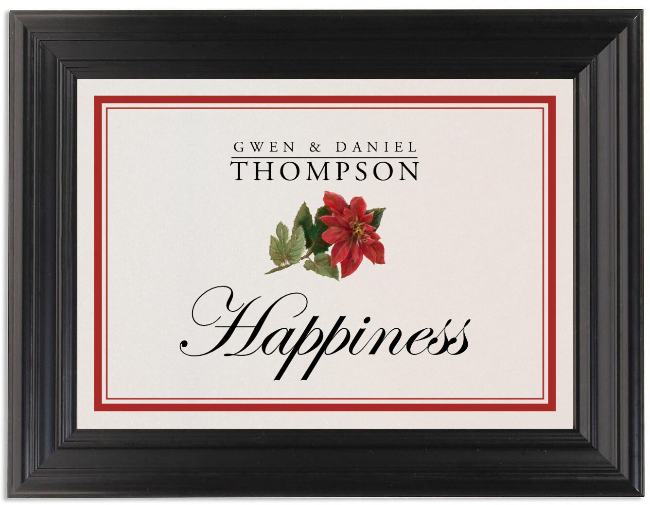 Framed Photograph of Poinsettia Table Names