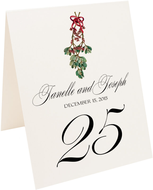 Photograph of Tented Mistletoe Bow Table Numbers