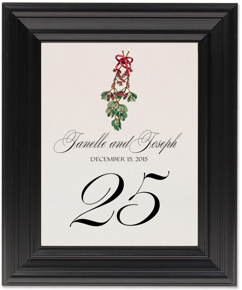 Framed Photograph of Mistletoe Bow Table Numbers