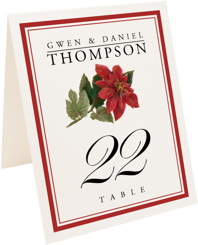 Photograph of Tented Poinsettia Table Numbers