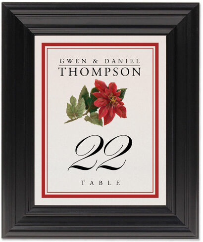 Framed Photograph of Poinsettia Table Numbers