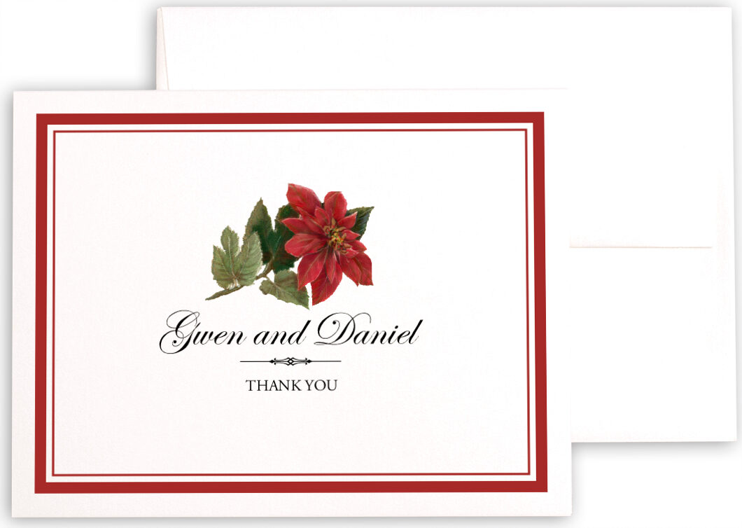 Photograph of Poinsettia Thank You Notes