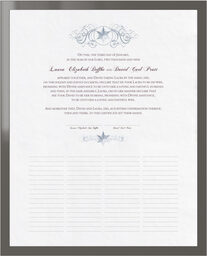 Photograph of Curly Sue Snowflake Wedding Certificates
