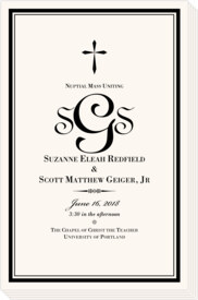 Typo Upright Monogram Full Catholic Mass (12 Pages) Contemporary and Classic Wedding Programs