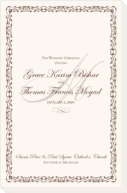 Celtic Leaf and Watermark Greek/Russian Orthodox Wedding Programs
