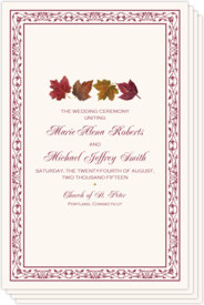 Maple Leaf Pattern Autumn/Fall Leaves Wedding Programs