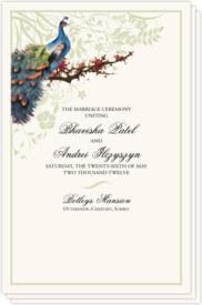 Peacock in a Plum Tree Birds and Butterflies Wedding Programs