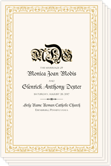 Blackletter Gothic Contemporary and Classic Wedding Programs