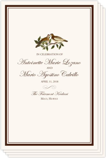 Brown Birds Birds and Butterflies Wedding Programs