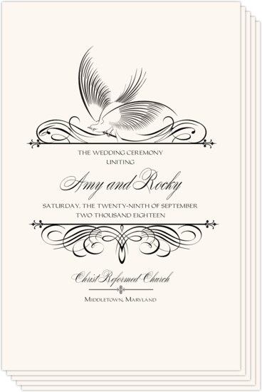 Constitution Flourish Birds Birds and Butterflies Wedding Programs