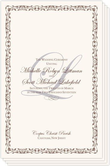 Edwardian Watermark Contemporary and Classic Wedding Programs