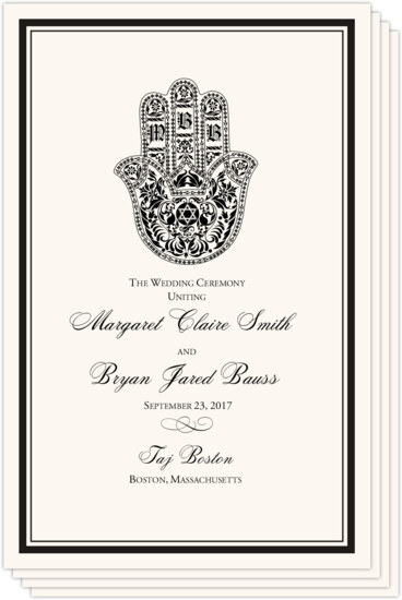 Hand of Miriam Jewish Wedding Programs