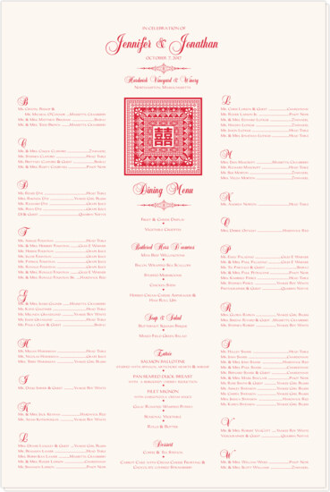 Orient Pattern with Double Happiness Symbol Far-East Inspired Seating Charts