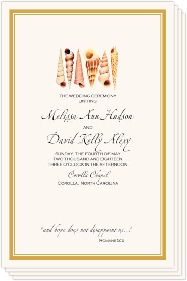 Seashell Pattern 09 Beach and Seashell Wedding Programs