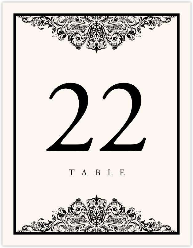Paisley Power Vintage Flourish Wedding Table Numbers