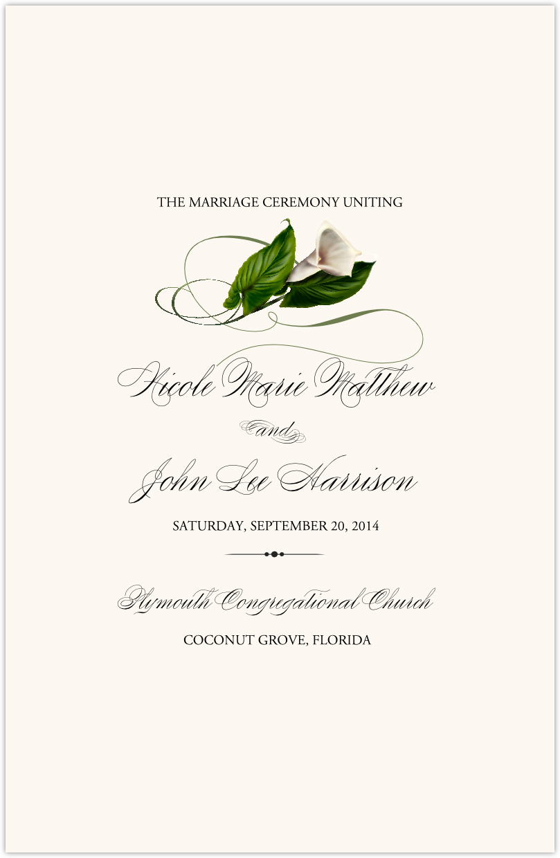 Wedding Programs and Program Wording Templates by Culture